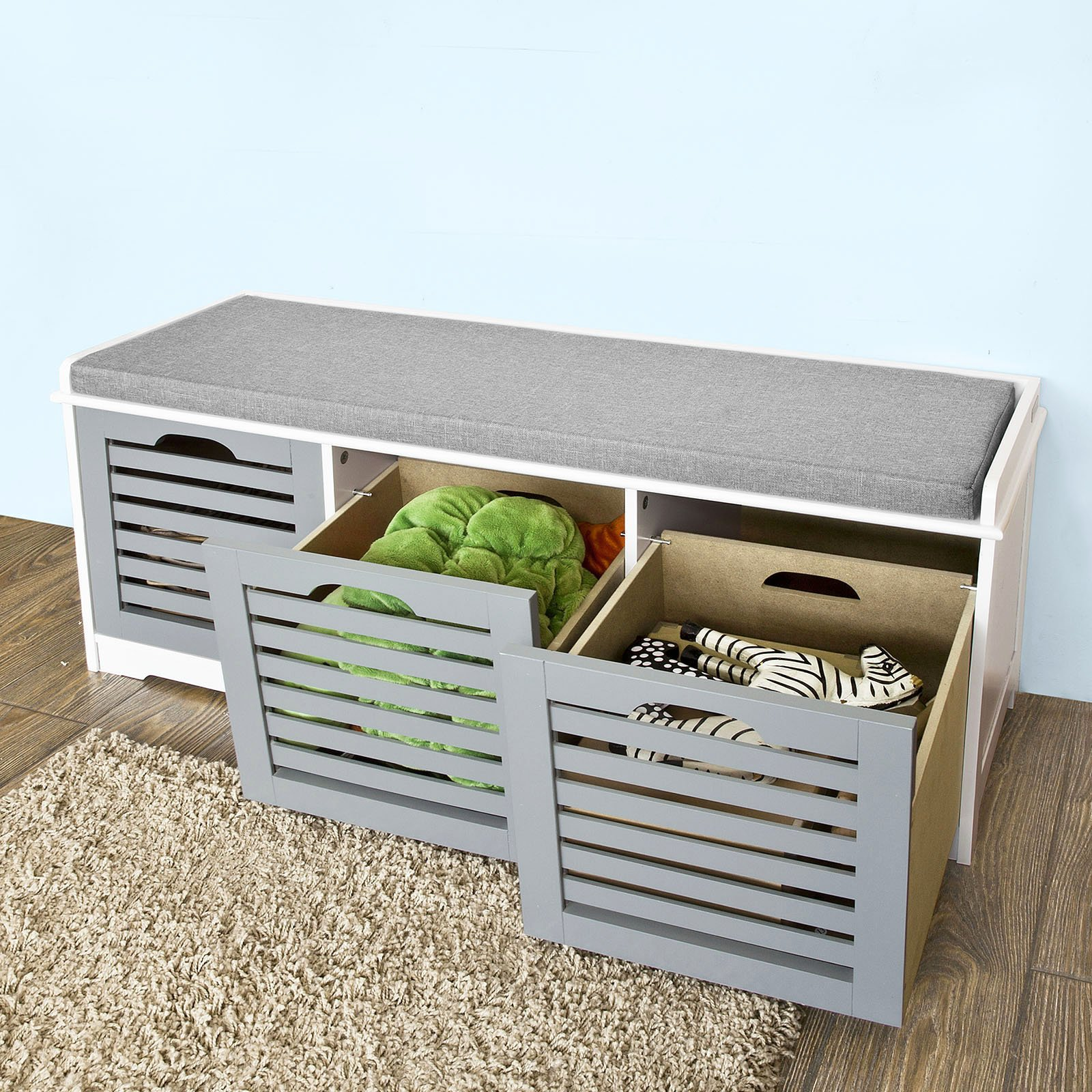 Benches With Storage Seating: Haotian FSR23-HG, Storage Bench With 3 Drawers Padded Seat