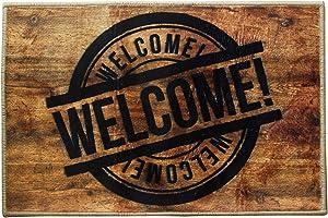 Welcome Stamp Sign Funny Doormat Mat Flannel Rug for Front Entrance Indoor Outdoor Bedroom - Non Slip Back Doormat for Office Kitchen Apartment