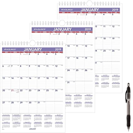 8 X 11 December 2019 Calendar Amazon.: at A Glance PM128 18 Monthly Wall Calendar, January