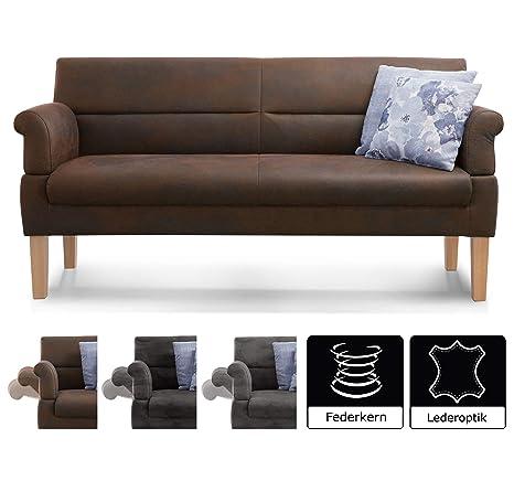 Cavadore 3-Sitzer Sofa Kira mit Federkern / Sitzbank für Küche, Esszimmer /  Inkl. Armteilfunktion / 189 x 94 x 81 / Antiklederoptik braun