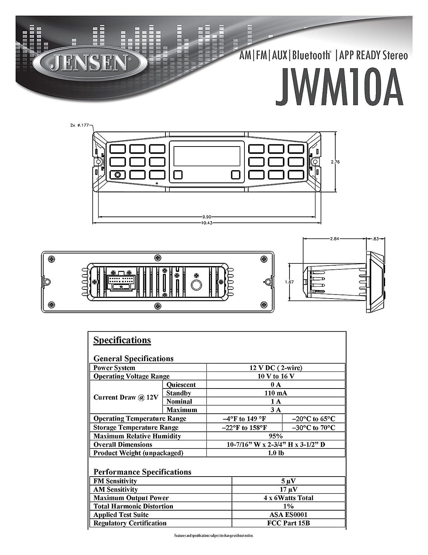 Jensen Jwm10a Am Fm Aux Bluetooth App Ready Twozone Burglar Alarm Circuit Description Wallmount Stereo 4 Channels 6w Per Ch 30 Programmable Station Presets 18fm 12am