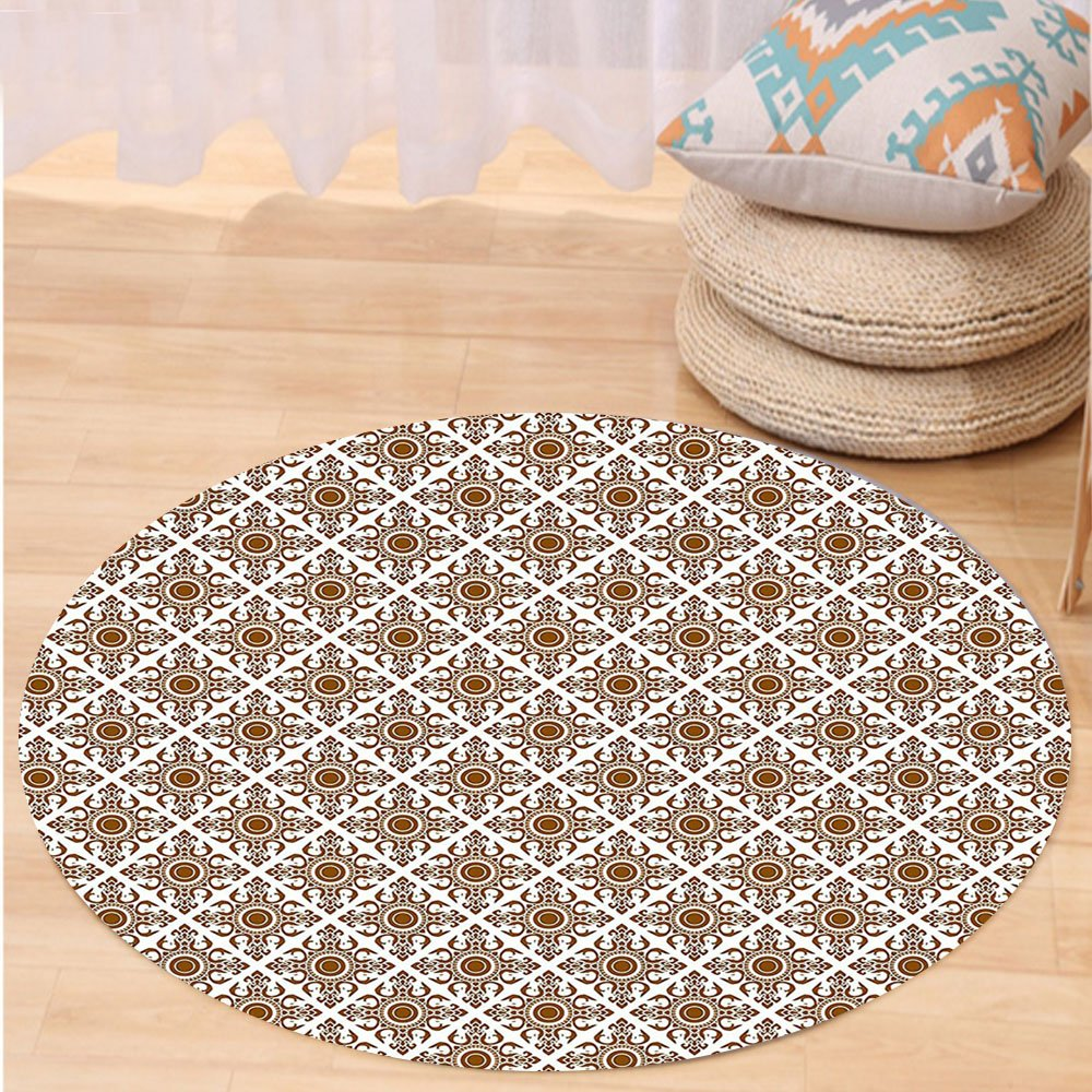 VROSELV Custom carpetEthnic Thai Mosaic Art Culture Stylized Abstract Lines Dots Pattern Folk Asian Design for Bedroom Living Room Dorm Redwood White Round 72 inches