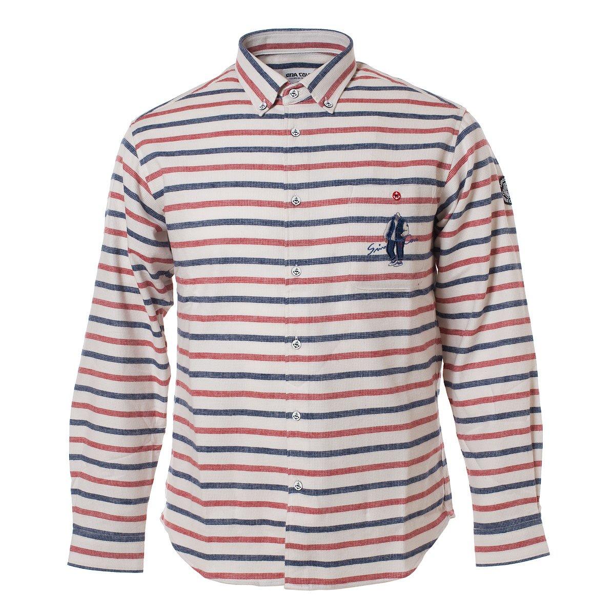 (シナコバ) SINA COVA ボタンダウンシャツ B0765RQ7MB LL|オフ×レッド×ネイビー オフ×レッド×ネイビー LL