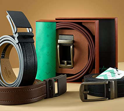 Marino Avenue Genuine Leather belt for Men 1.5 Wide Casual Ratchet Belt with Automatic Linxx Buckle
