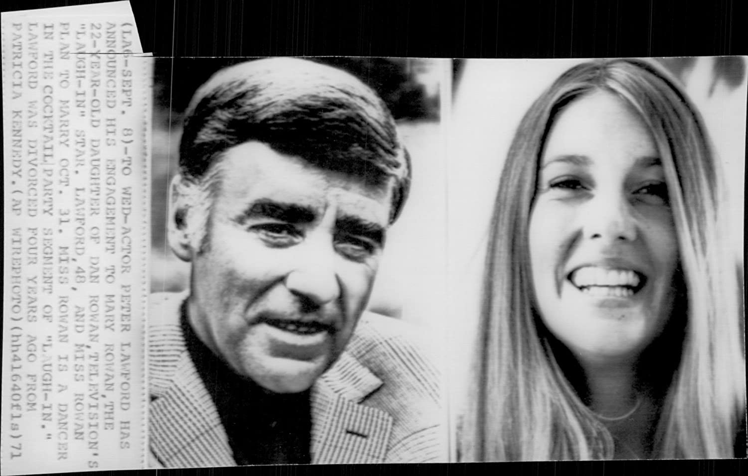 Vintage photo of Photography on actor Peter Lawford along with his fiancee Mary Rowan.: Amazon.co.uk: Kitchen & Home