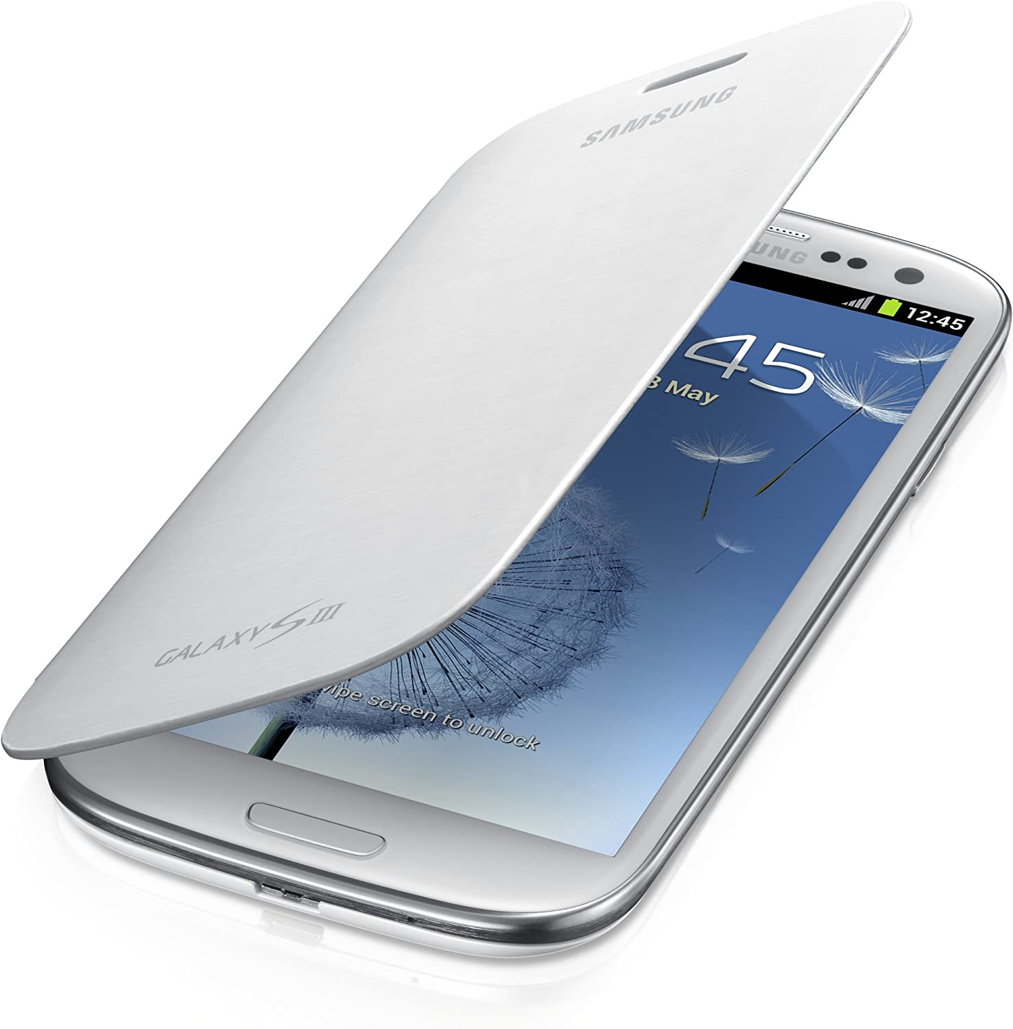 Samsung Galaxy S3 Flip Cover Case Marble White