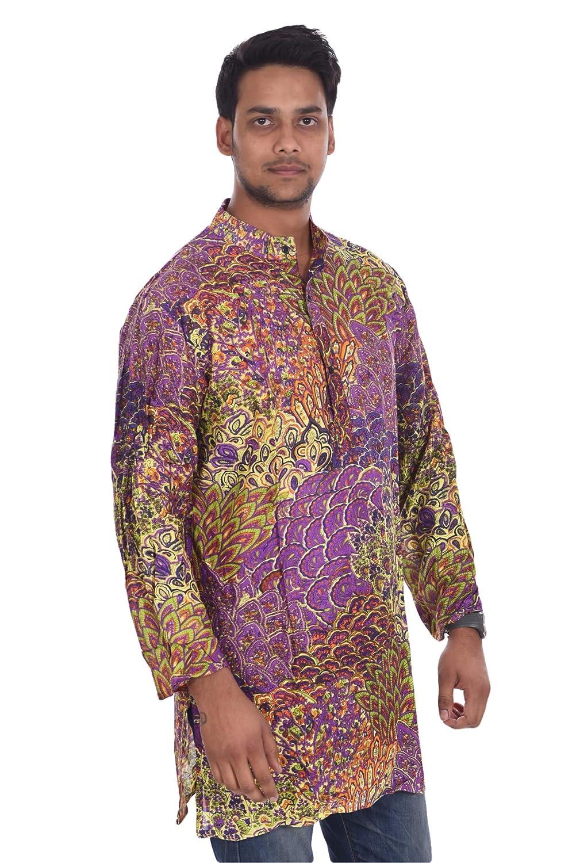 Lakkar Havali Rayon Cotton Indian Mens Kurta Shirt Tunic Floral Print Purple Color Loose Fit Plus Size