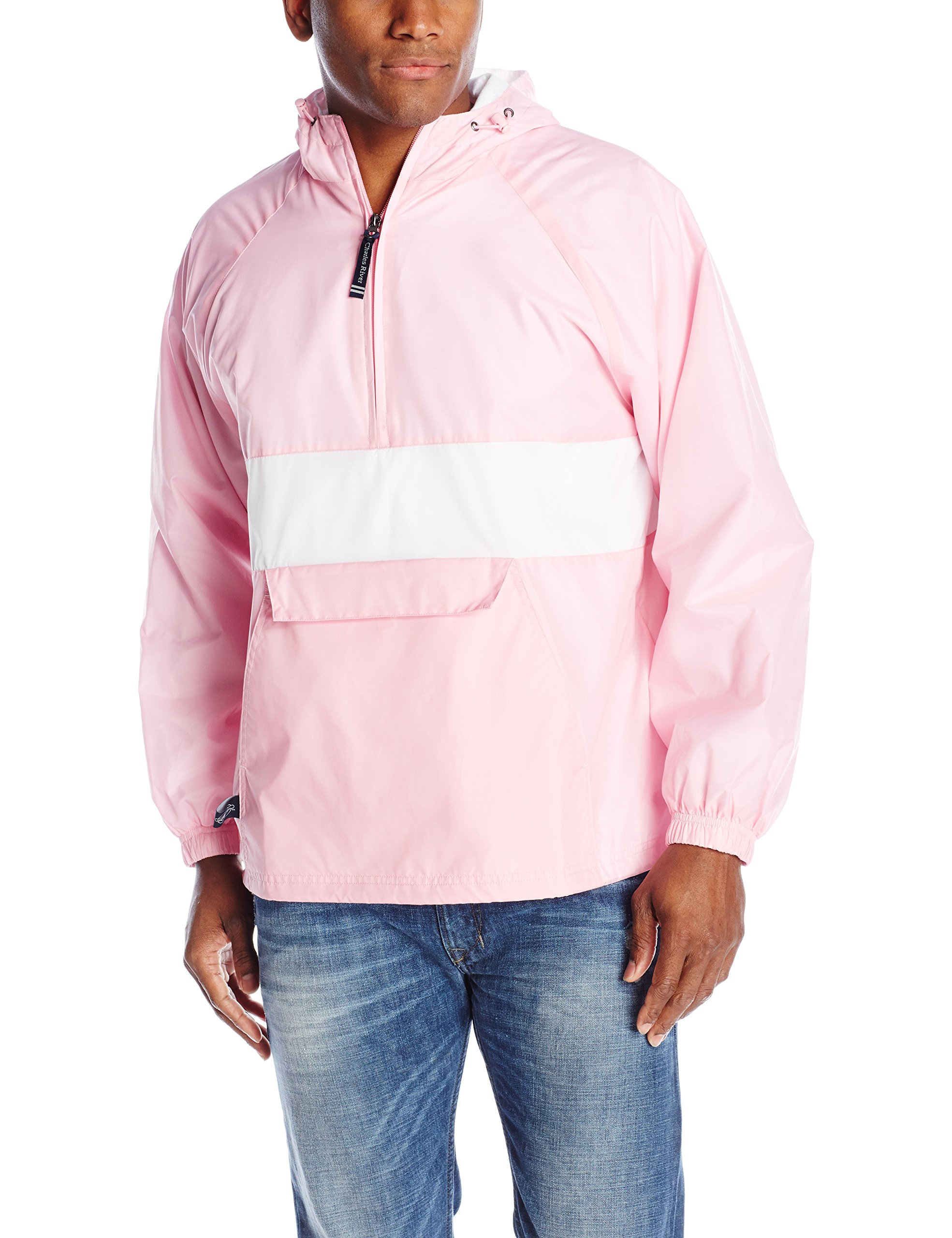 Charles River Apparel Men's Classic Striped Pullover Jacket, Pink/White, Small by Charles River Apparel
