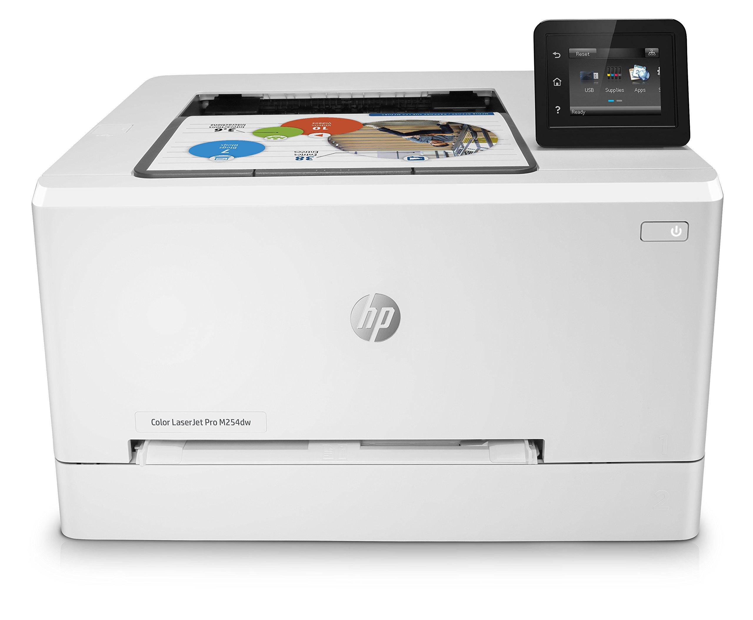 HP LaserJet Pro M254dw (T6B60A) Wireless Laser Colour Printer, Up to (600 x 600 dpi, Upto 21 ppm (colour), USB 2.0, LAN, Wi-Fi)
