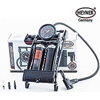 Heyner PedalMax PRO Noir Premium Edition pompe double pied de cylindre 140PSI 10 bar avec connecteur de type vanne vis supplémentaires