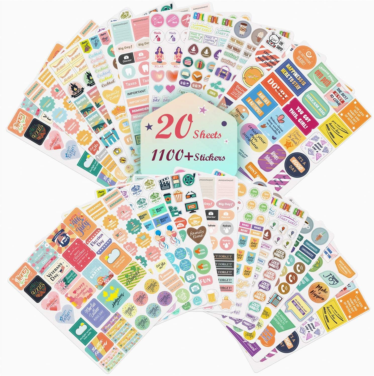 Planner Stickers 20 Sheets, Over 1100 Cute Stickers for Planner, Various Theme Monthly Weekly Daily Planner Sticker Set, Stickers for Planners, Calendar, Bullet Journal, Scrapbook Stickers