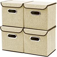 Storage Bins [4-Pack] EZOWare Linen Fabric Foldable Basket Cubes Organizer Boxes Containers Drawers with Lid for Office Nursery Bedroom Shelf (Beige)