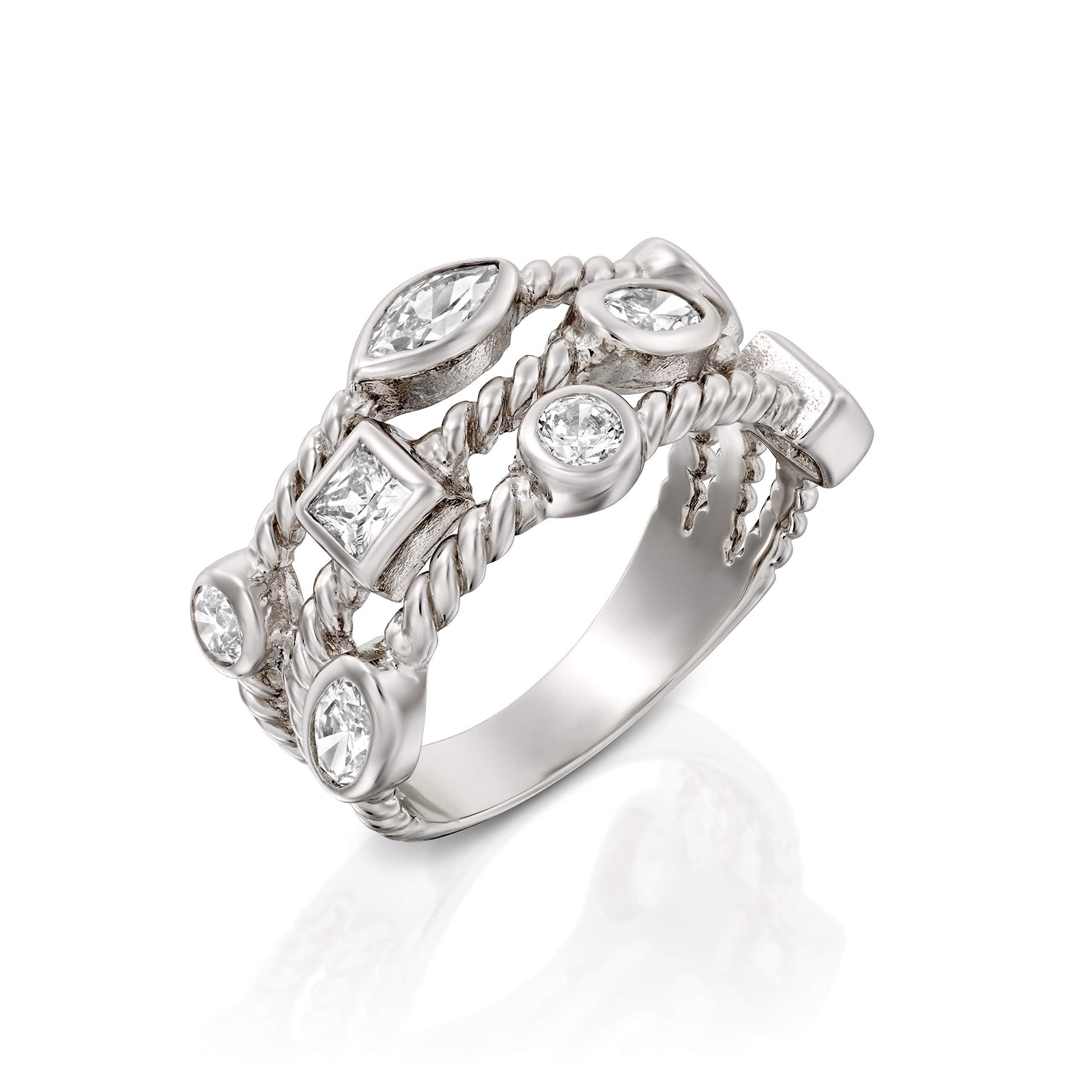 Paz Creations ♥925 Sterling Silver Cubic Zirconia Triple Row Band Ring (6)