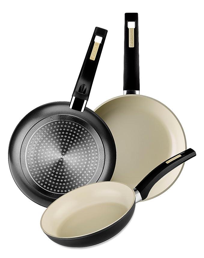 Amazon.com: Monix Nature - Frying pan, 26 cm, forged aluminium with Greblon Ceram ceramic non-stick: Kitchen & Dining