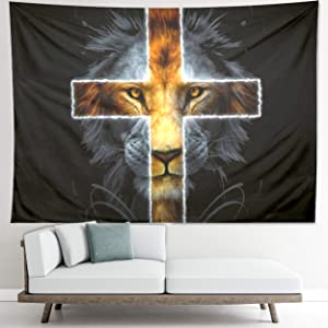 Animal Lion Tapestry, Cross Wall Decor, Gold Tapestry, Black and White Tapestry. The Cool Meditation Lion Picture Wall Decor for Bedroom, Living Room, Student Dorm, 27.1W x 36.2L Small
