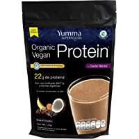 Organic Vegan Protein Cacao by Yumma Superfoods, Mezcla de Proteína Vegetal en polvo con superfoods 1200 gr, 100% orgánica y natural