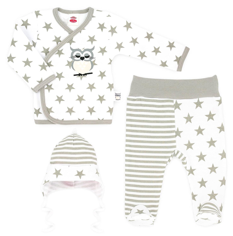 2 oder 3-tlg Baby Set Wickelshirt oder Body mit Hose,Mütze NEU Junge Gr.56,62