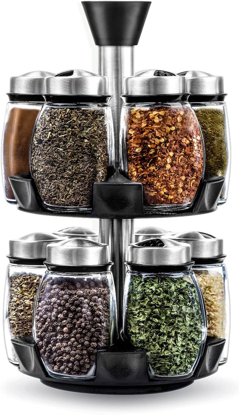 12-Jar Revolving Spice Rack Organizer, Spinning Countertop Herb and Spice Rack Organizer with 12 Glass Jar Bottles Spices Not Included