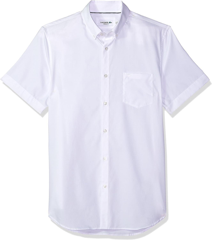 Lacoste Hombre CH1172-51 Manga Corta Camisa de Botones - Blanco - 41: Amazon.es: Ropa y accesorios