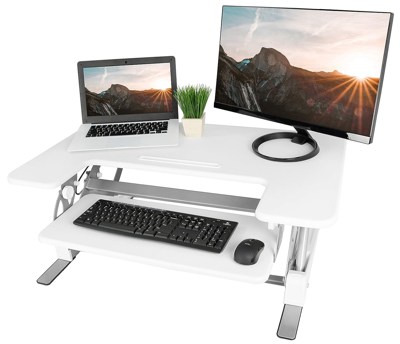 VIVO Black Height Adjustable Stand up Desk Converter | 36 Sit to Stand Tabletop Monitor Riser (DESK-V000V)