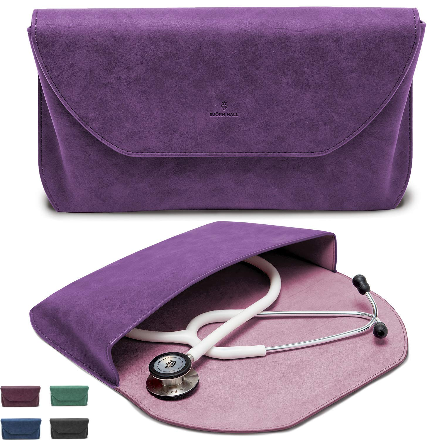 BJ RN HALL Prestige Leather Stethoscope Case Fits 3M Littmann Stethoscope Classic III, Lightweight II SE, Cardiology IV, MDF Designer PU Leather Carrying Case Nurse Doctor Gift Purple Rain