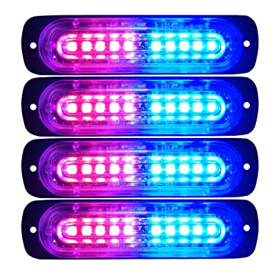 Primelux 4-Pack 4.4-Inch 10 LED Ultra Slim Strobe LED Lighthead External Emergency Grille Surface Mounting Lights(Red/Blue): Automotive