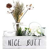 TIMEYARD Nice Butt Bathroom Decor Box - Toilet Paper Holder - Farmhouse Rustic Wood Crate Home Decor