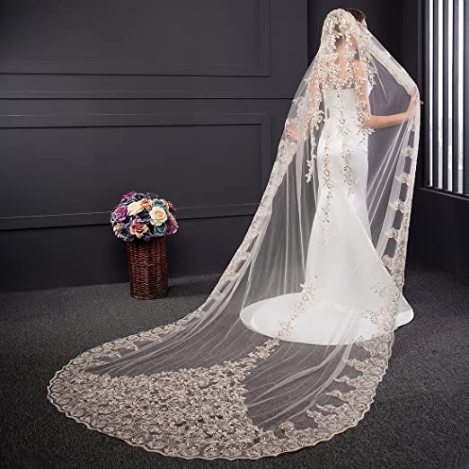 EllieHouse Womens Lace Chapel Wedding Bridal Veil With Free Comb E21 Champagne At Amazon Clothing Store