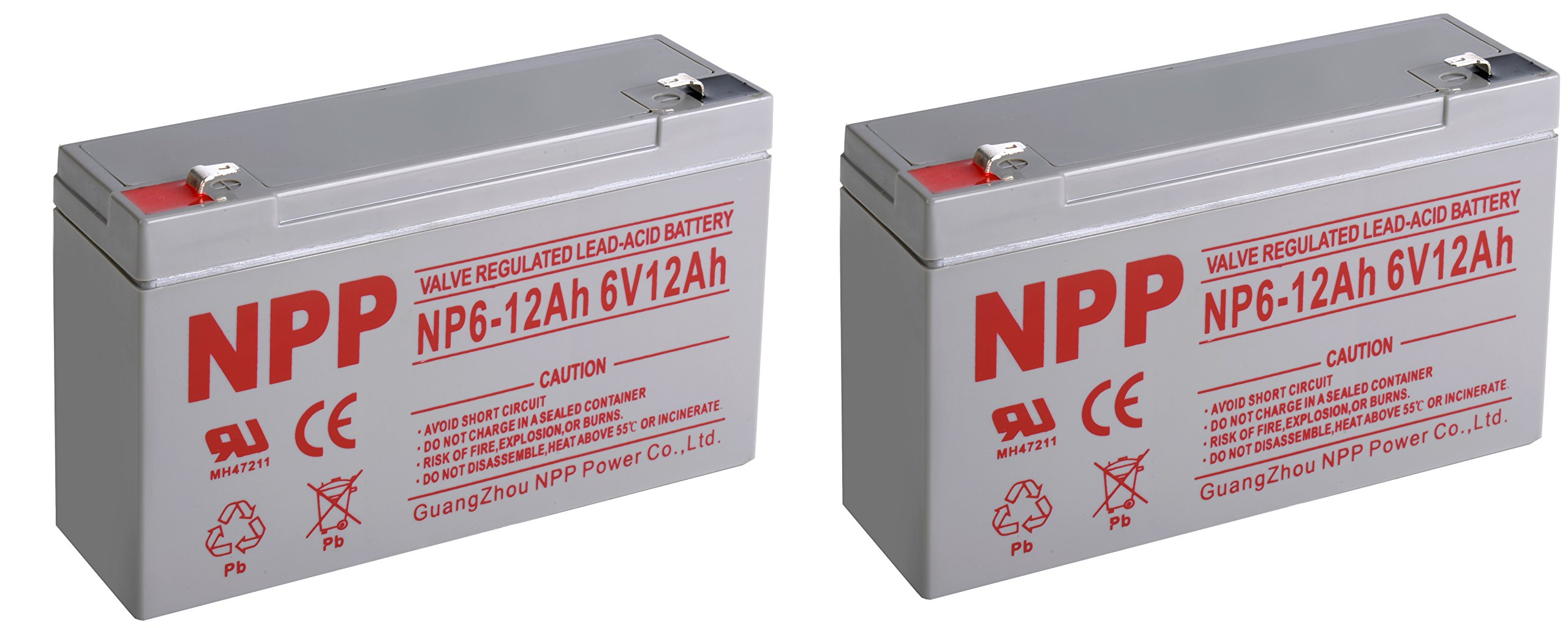 NPPower NP6-12Ah 6 Volt 12Ah Sealed Lead Acid Battery With F1 Style Terminals/(2pcs)