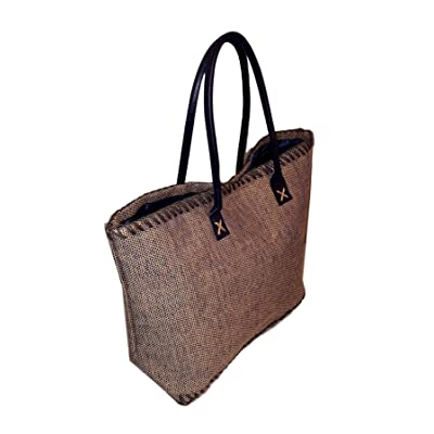 101 BEACH Large Jute Tote Bag - Custom Embroidery Available