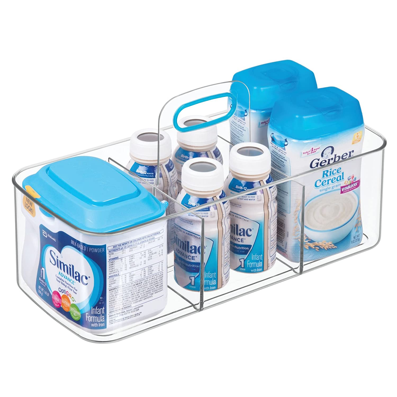 mDesign Cesta organizadora con 4 compartimentos - Cajas de almacenaje grandes con asa para habitación infantil, baño o cocina - Cajas organizadoras de ...