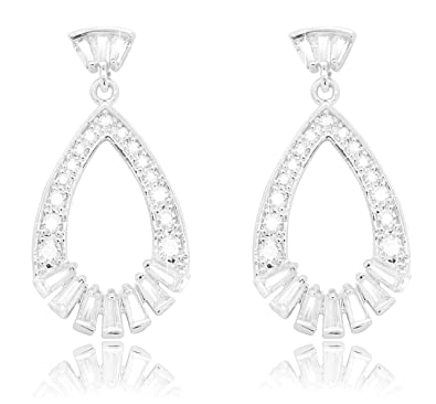 350c53eac KristLand - Elegant Silver Earpin Bridal Weddings Round Waterdrop Cubic  Zirconia Drop Stud Earrings with 18k White Gold Plated/Teardrop Dangle/Women/Gift  ...