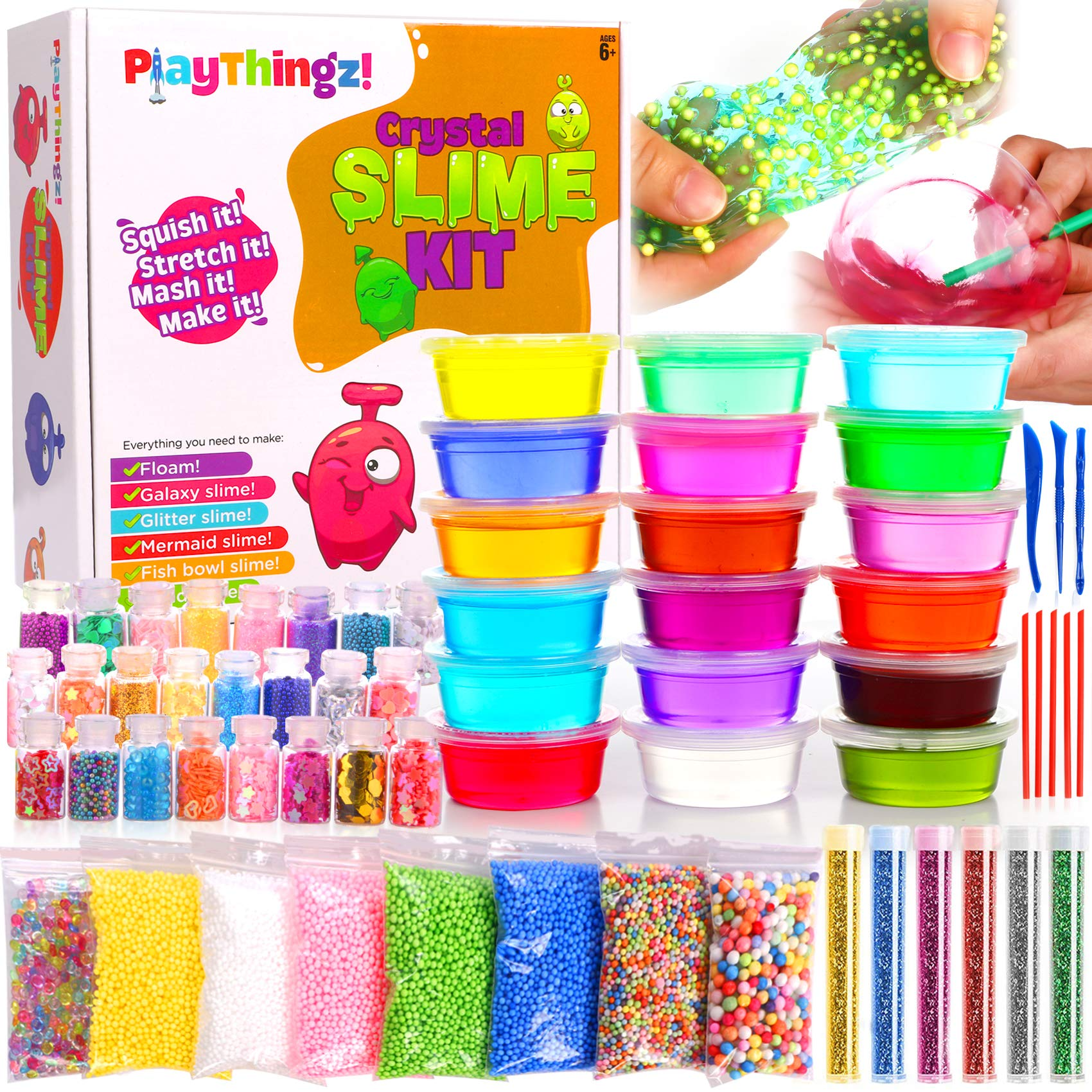 DIY Slime Kit for Girls Boys - Ultimate Slime Making Kits - Slime Supplies - 18 Slime Containers add ins Floam beads, Glitter, Galaxy, Mermaid, Fishbowl Crunchy Unicorn Clear Slime-Fun for Kids Party