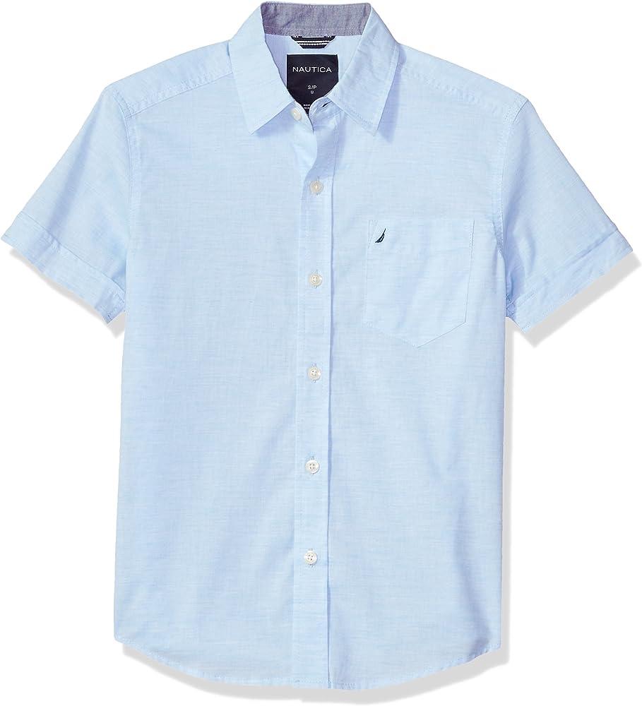 Nautica Varones 75140Q Manga corta Camisa de botones - Azul - M: Amazon.es: Ropa y accesorios