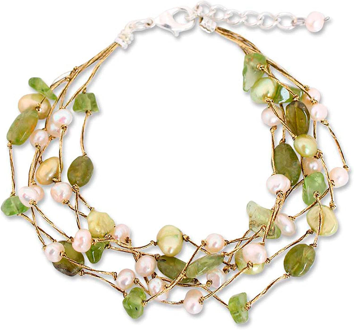 NOVICA Multi-Gem Peridot Cultured Freshwater Pearl Silver Plated Beaded Bracelet 'Cloud Forest'