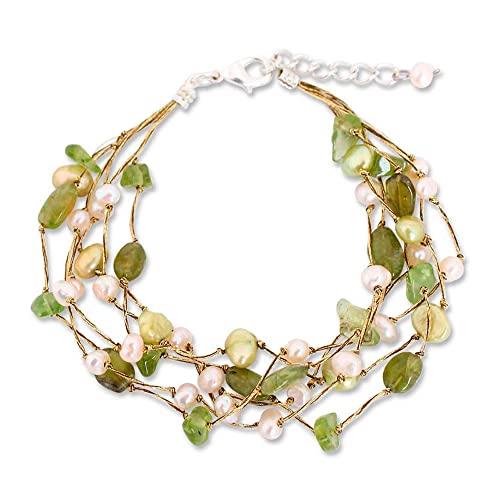 NOVICA Multi-Gem Peridot Cultured Freshwater Pearl Silver Plated Beaded Bracelet Cloud Forest