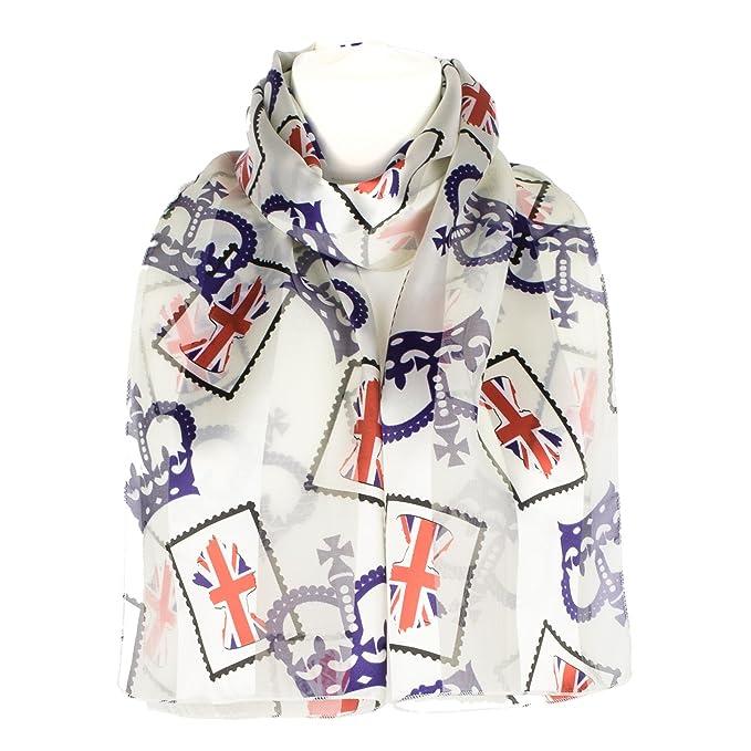Ladies Royal Crown Union Jack Postal Stamp Scarf - Cream - Blue - Red -  Black  Amazon.it  Abbigliamento 44bffa3b91f9