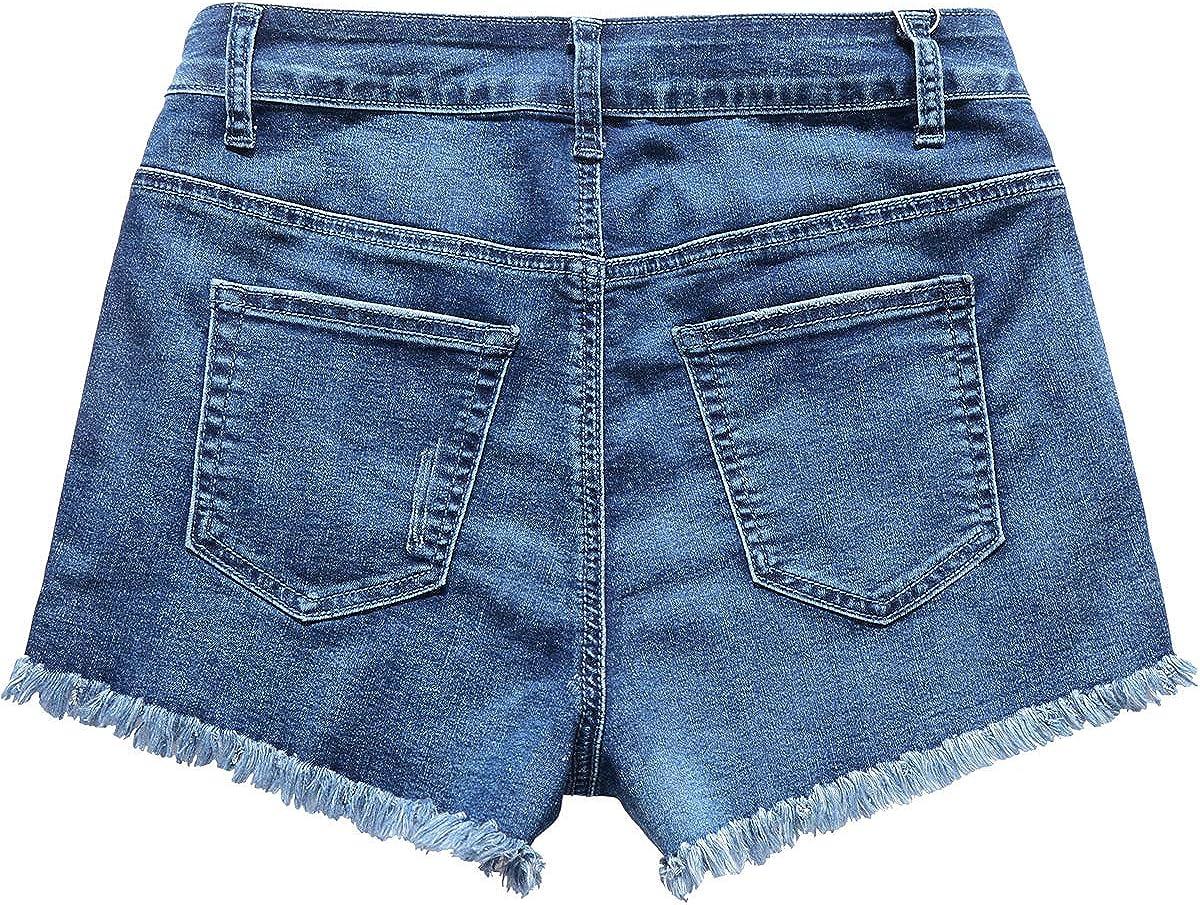 vanberfia Womens Strechy Distressed Denim Shorts