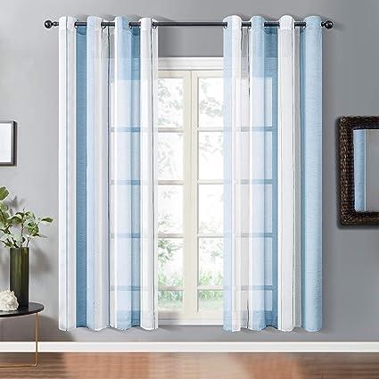 topfinel lot de 2 rideaux 140x220 cm grandes salon moderne a oeillets rideaux voilage bleu blanc rayures fenetre decor chambre fille cuisine baie