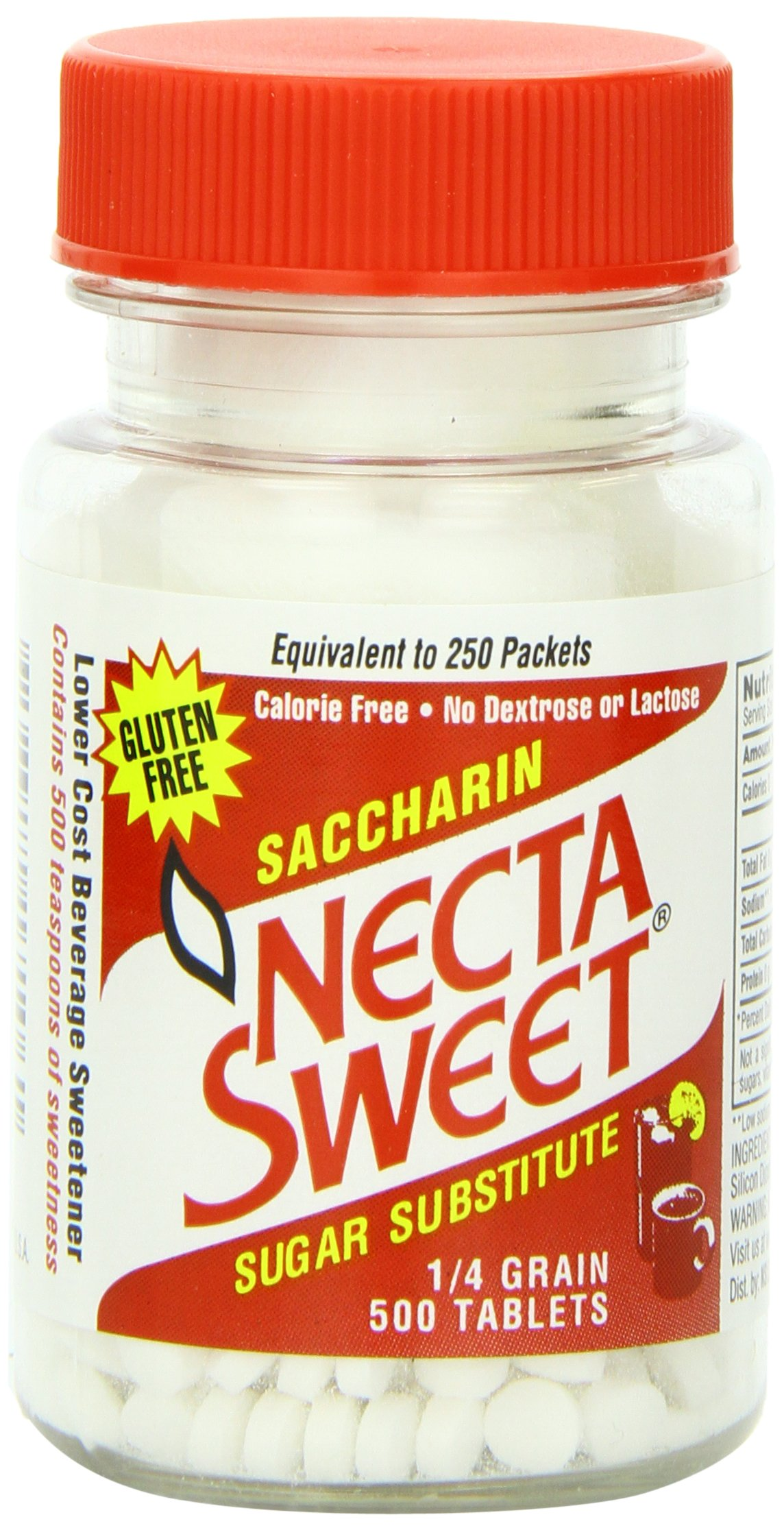 Necta Sweet Sugar Substitute Tablets, 1/4 Grain, 500-Count Bottles (Pack of 12) by Necta Sweet (Image #1)