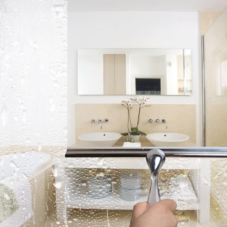Stainless Steel Squeegee /… Elegear lavavetri in acciaio INOX vetro tergicristallo tergi vetri resistente con ventosa gancio
