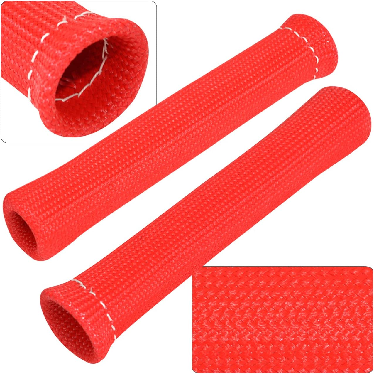 8PCS Red 1200° SPARK PLUG WIRE BOOTS HEAT SLEEVE WRAP SHIELD PROTECTOR COVER