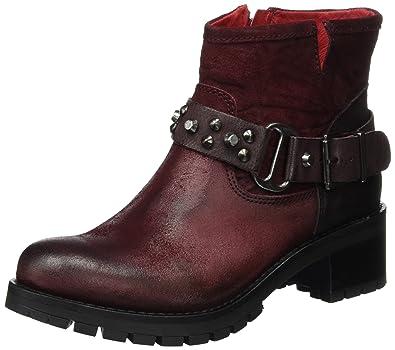 Buffalo London Damen ES 30612 Trend Plisse SINGAPU Biker Boots, Rot  (Bordeaux 18) f9b0c6810a