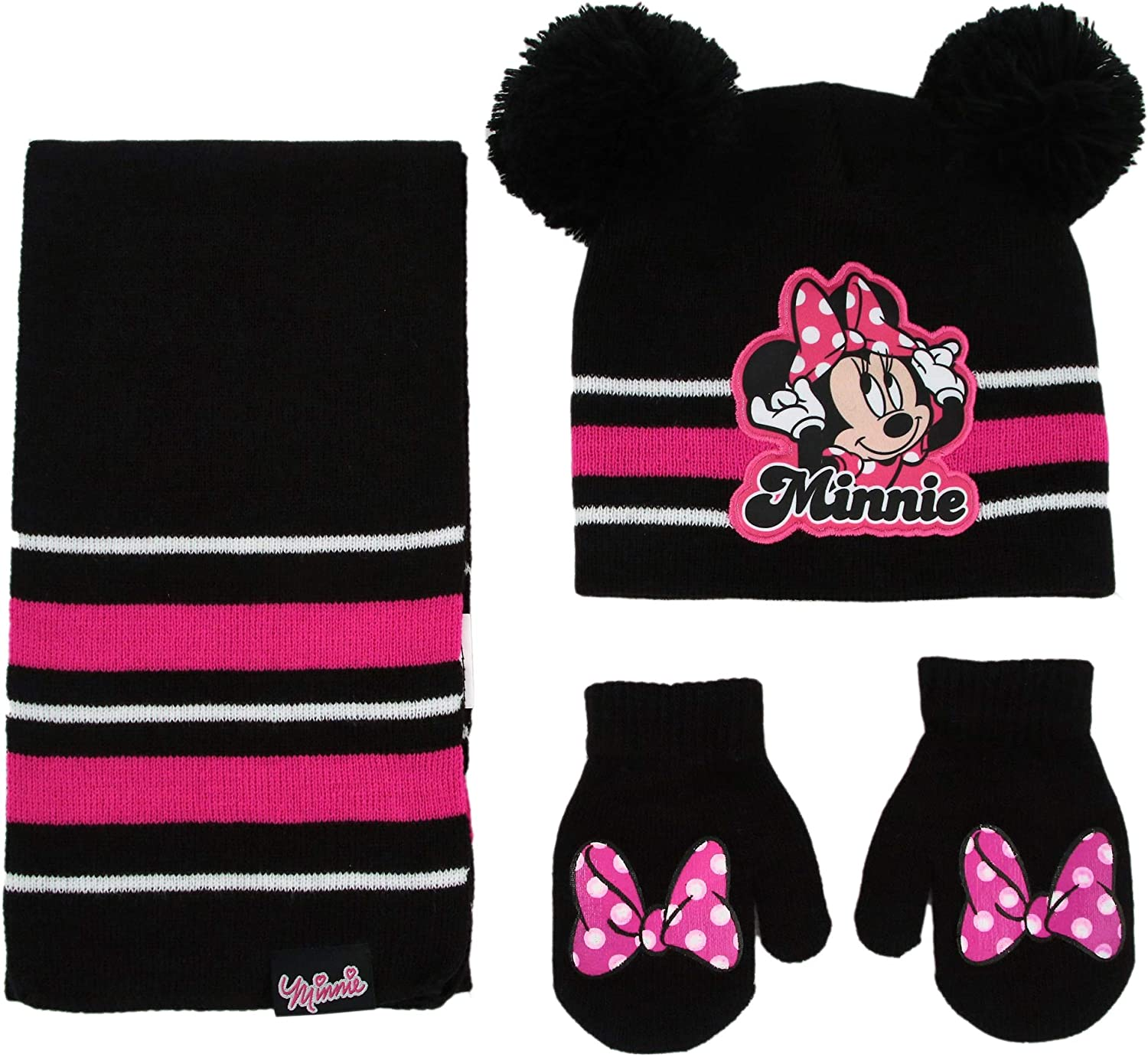 Disney Girls Winter Hat, Minnie Mouse Kids Beanie, Scarf, and Mittens Or Gloves Set