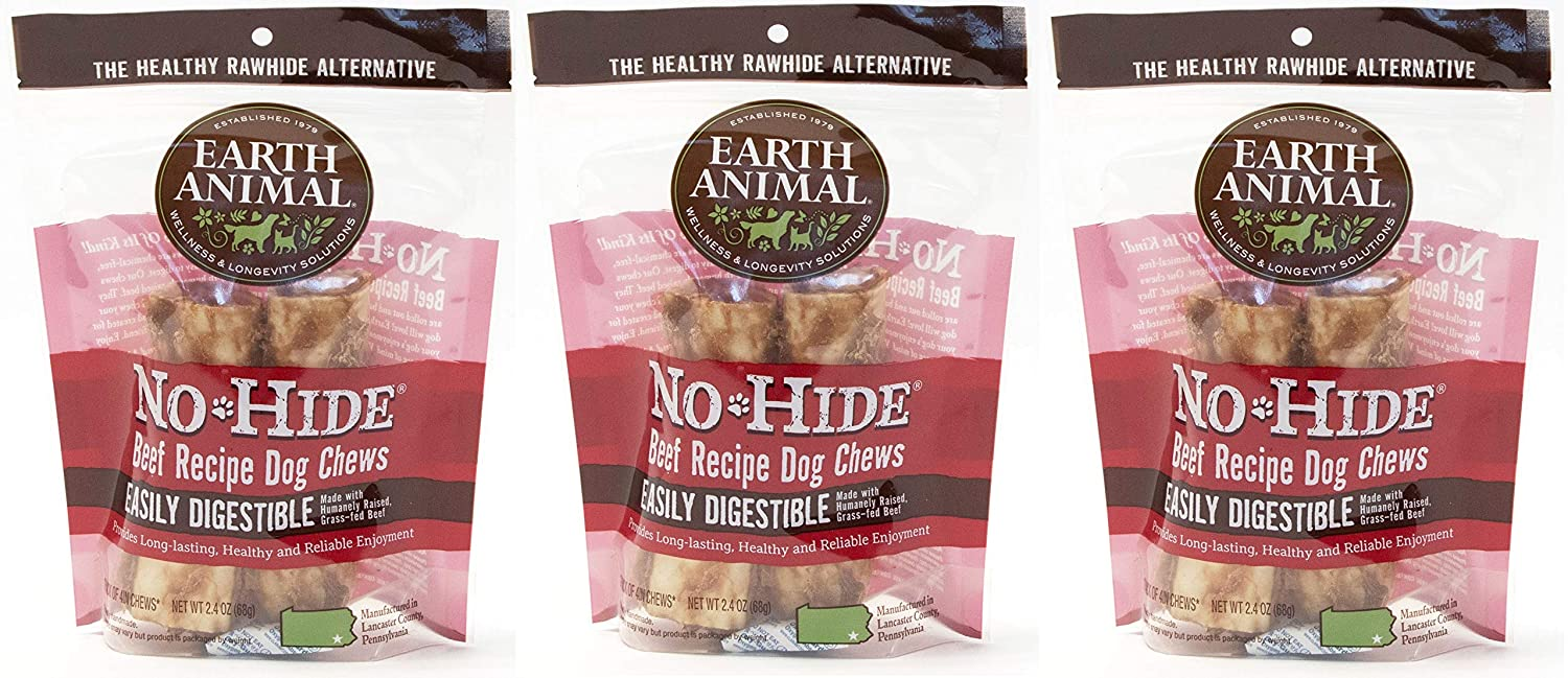 """(3 Packages) Earth Animal No-Hide Beef Chews 4"""" (2 Chew Per Pack, 6 Chew Total) 819G7t62BfGL"""