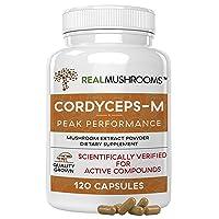 Real Mushrooms Cordyceps Peak Performance Supplement for Energy, Stamina, Endurance (120ct) Non-GMO, Vegan Cordyceps Mushroom (60 Day Supply)