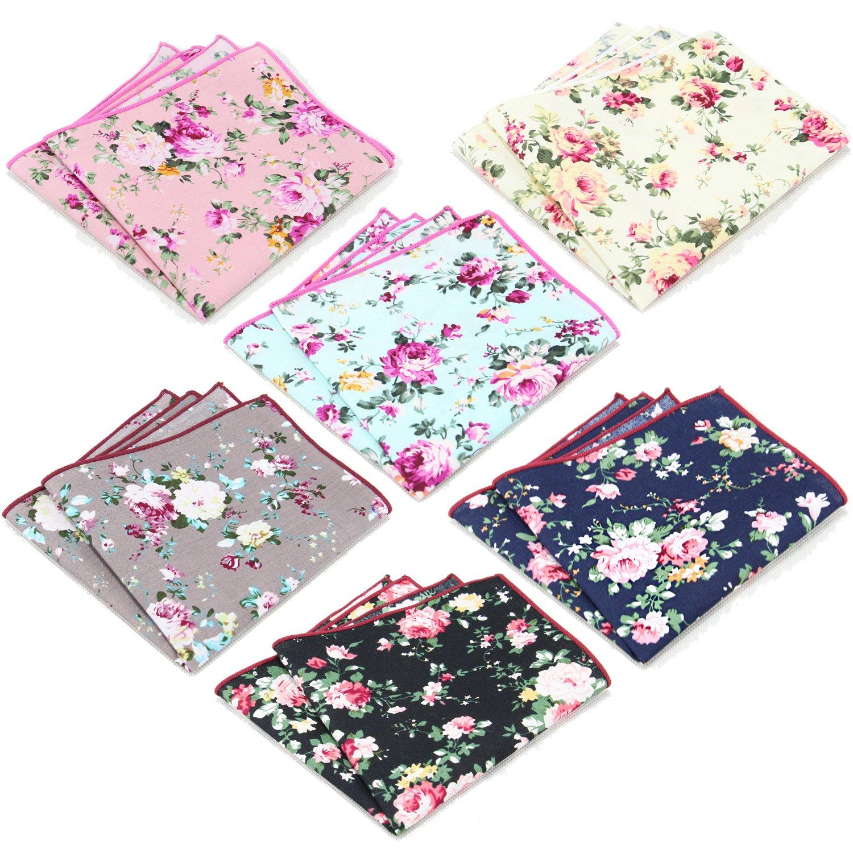 6 Pcs Men's Handkerchiefs Cotton Floral Pocket Squares for Men Ladies Hankies by MarJunSep (Image #1)