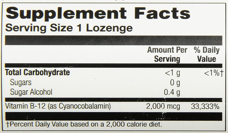 Solaray - Vitamina B12 sublingual 2000 mcg con sabor cereza, 90 Comprimidos: Amazon.es: Salud y cuidado personal