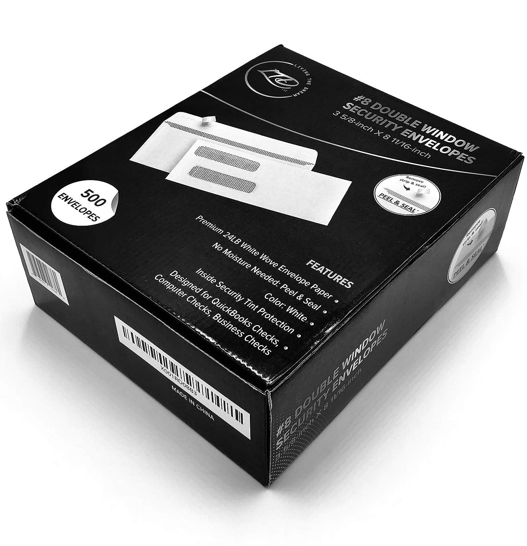 500#8 ダブルウィンドウ セルフシール セキュリティ封筒: ホワイト ビジネス封筒 QuickBooks、QB Online、Quicken、その他の印刷可能なコンピュータチェック用デザイン:3 5/8インチX 8 11/16インチ - LTD, LLC製 B07CJMPRFM