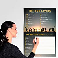 TINYCHANGE 2020 Better Living Calendar 12 Monthly Themes and 60 Tips for Happiness and Wellness; A3 Size Wall Planner and Habit Tracker; with Stickers and Box for Home and Office (34x29 cm)